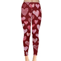 Watercolor Valentine s Day Hearts Leggings