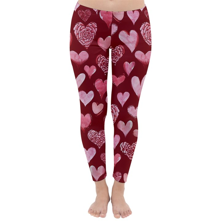 Watercolor Valentine s Day Hearts Winter Leggings
