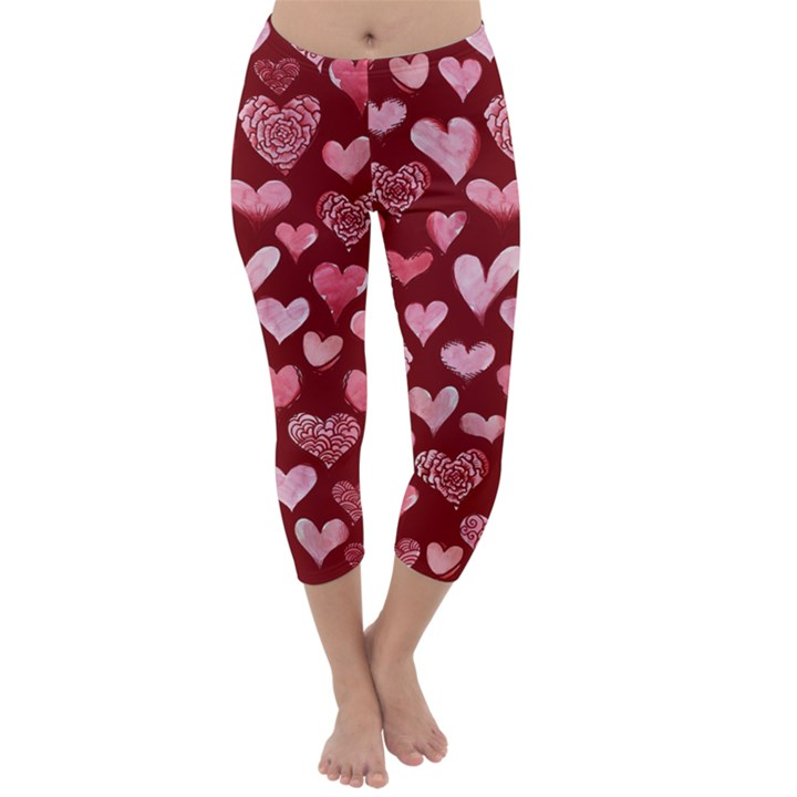 Watercolor Valentine s Day Hearts Capri Winter Leggings