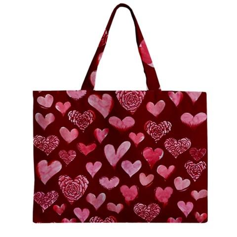 Watercolor Valentine s Day Hearts Zipper Mini Tote Bag