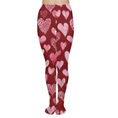 Watercolor Valentine s Day Hearts Women s Tights