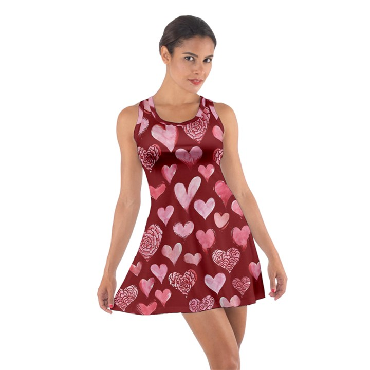 Watercolor Valentine s Day Hearts Cotton Racerback Dress
