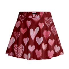 Watercolor Valentine s Day Hearts Mini Flare Skirt