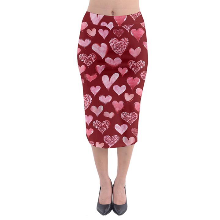 Watercolor Valentine s Day Hearts Midi Pencil Skirt