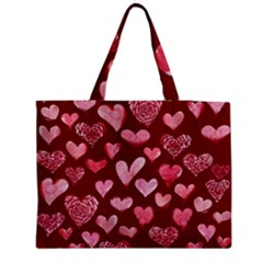 Watercolor Valentine s Day Hearts Medium Zipper Tote Bag