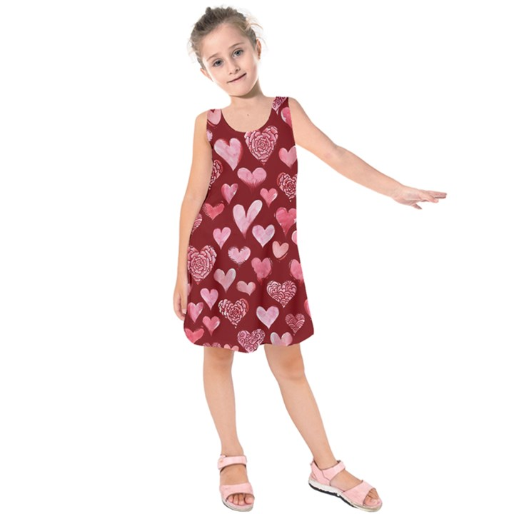 Watercolor Valentine s Day Hearts Kids  Sleeveless Dress