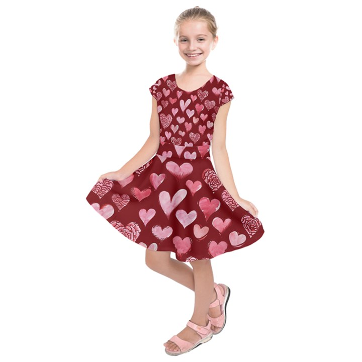 Watercolor Valentine s Day Hearts Kids  Short Sleeve Dress