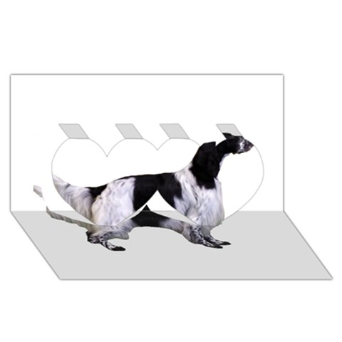English Setter Full Twin Hearts 3D Greeting Card (8x4)