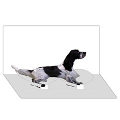 English Setter Full Twin Heart Bottom 3D Greeting Card (8x4)