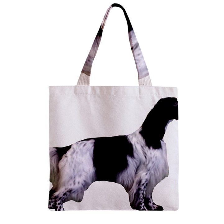 English Setter Full Zipper Grocery Tote Bag