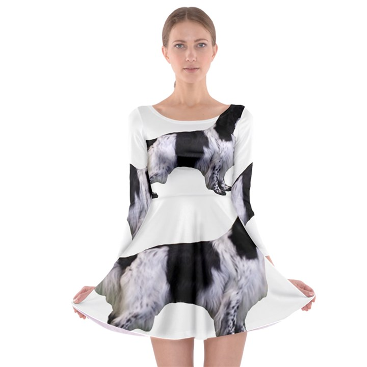 English Setter Full Long Sleeve Skater Dress