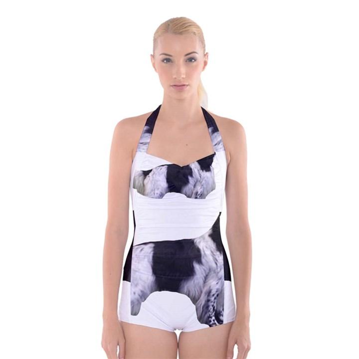 English Setter Full Boyleg Halter Swimsuit