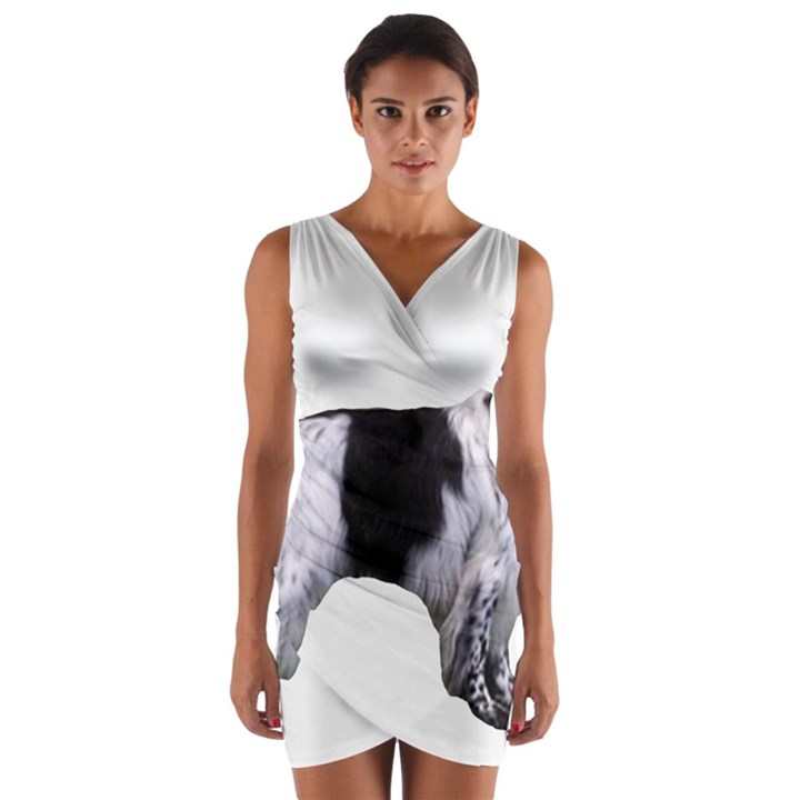 English Setter Full Wrap Front Bodycon Dress