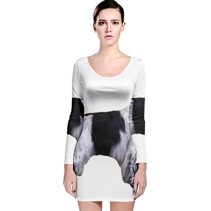English Setter Full Long Sleeve Velvet Bodycon Dress