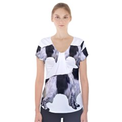 English Setter Full Short Sleeve Front Detail Top