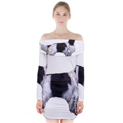 English Setter Full Long Sleeve Off Shoulder Dress