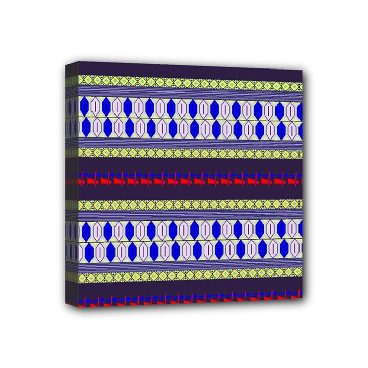 Colorful Retro Geometric Pattern Mini Canvas 4  x 4