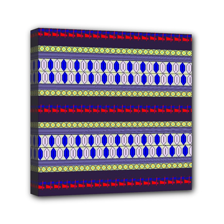 Colorful Retro Geometric Pattern Mini Canvas 6  x 6