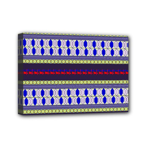 Colorful Retro Geometric Pattern Mini Canvas 7  x 5