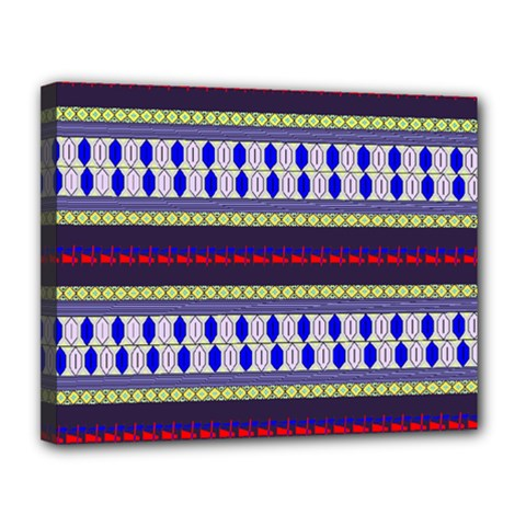 Colorful Retro Geometric Pattern Canvas 14  X 11