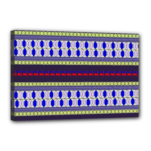 Colorful Retro Geometric Pattern Canvas 18  X 12