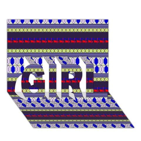 Colorful Retro Geometric Pattern GIRL 3D Greeting Card (7x5)