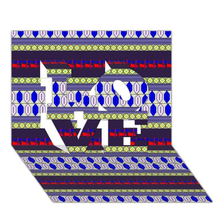Colorful Retro Geometric Pattern LOVE 3D Greeting Card (7x5)