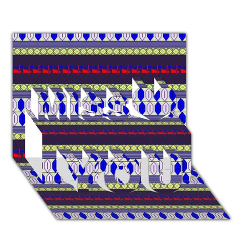 Colorful Retro Geometric Pattern Miss You 3D Greeting Card (7x5)
