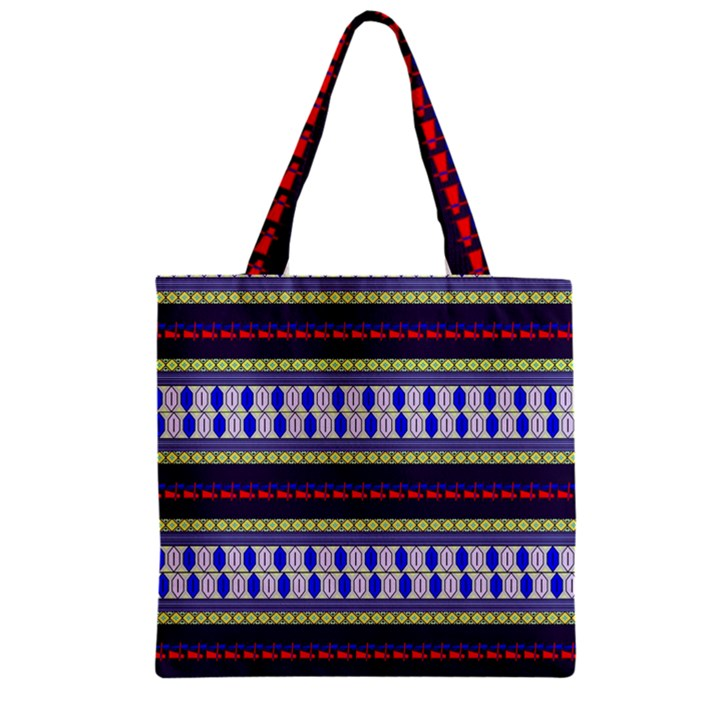 Colorful Retro Geometric Pattern Zipper Grocery Tote Bag
