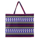 Colorful Retro Geometric Pattern Zipper Large Tote Bag View1