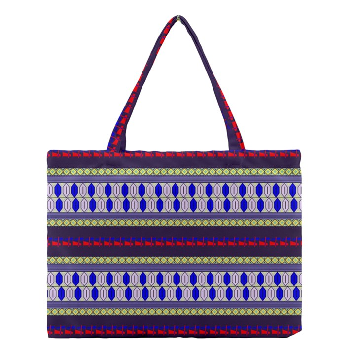 Colorful Retro Geometric Pattern Medium Tote Bag