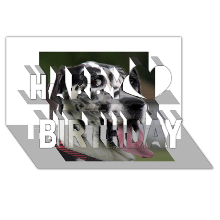 Great Dane harlequin  Happy Birthday 3D Greeting Card (8x4)