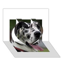 Great Dane harlequin  Heart 3D Greeting Card (7x5)