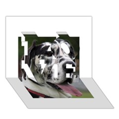 Great Dane harlequin  LOVE 3D Greeting Card (7x5)