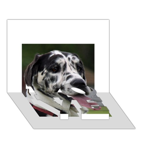 Great Dane harlequin  LOVE Bottom 3D Greeting Card (7x5)