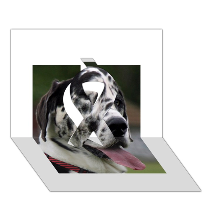 Great Dane harlequin  Ribbon 3D Greeting Card (7x5)
