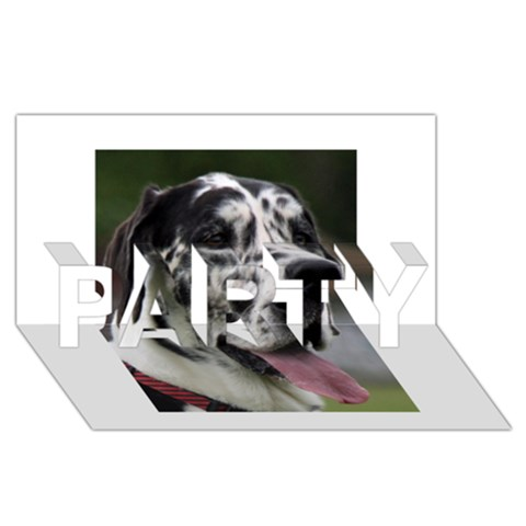 Great Dane harlequin  PARTY 3D Greeting Card (8x4)