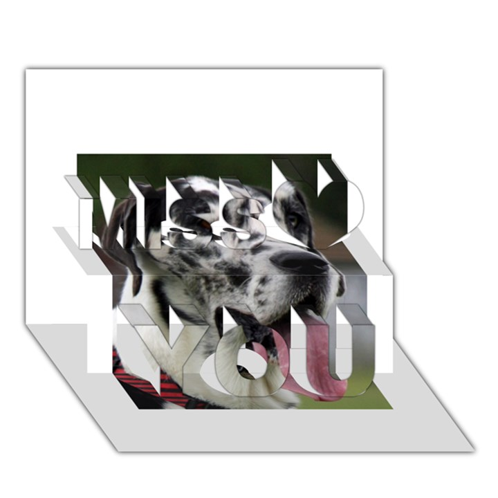 Great Dane harlequin  Miss You 3D Greeting Card (7x5)