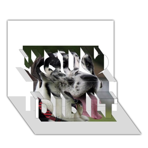 Great Dane harlequin  You Did It 3D Greeting Card (7x5)