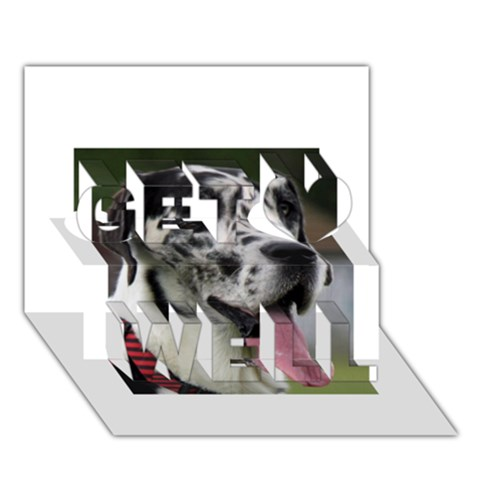 Great Dane harlequin  Get Well 3D Greeting Card (7x5)