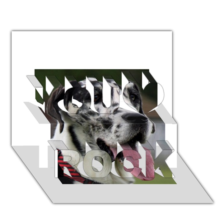 Great Dane harlequin  You Rock 3D Greeting Card (7x5)