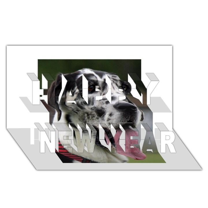 Great Dane harlequin  Happy New Year 3D Greeting Card (8x4)