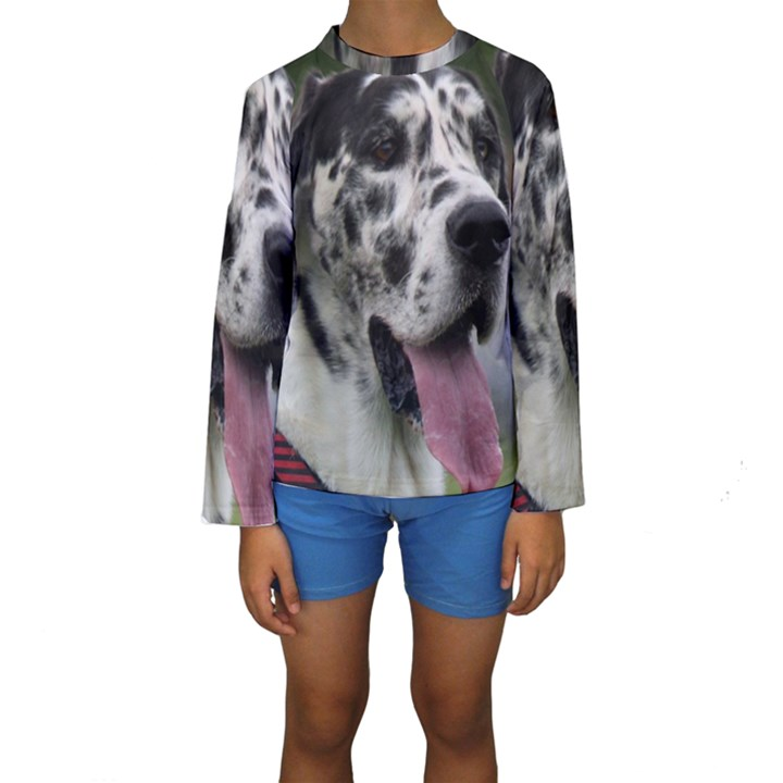 Great Dane harlequin  Kids  Long Sleeve Swimwear