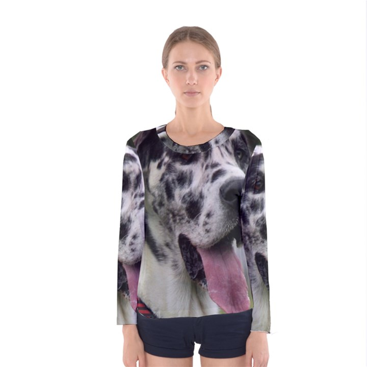 Great Dane harlequin  Women s Long Sleeve Tee