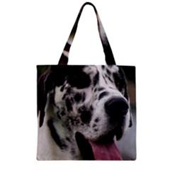 Great Dane harlequin  Zipper Grocery Tote Bag