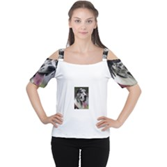 Great Dane harlequin  Women s Cutout Shoulder Tee
