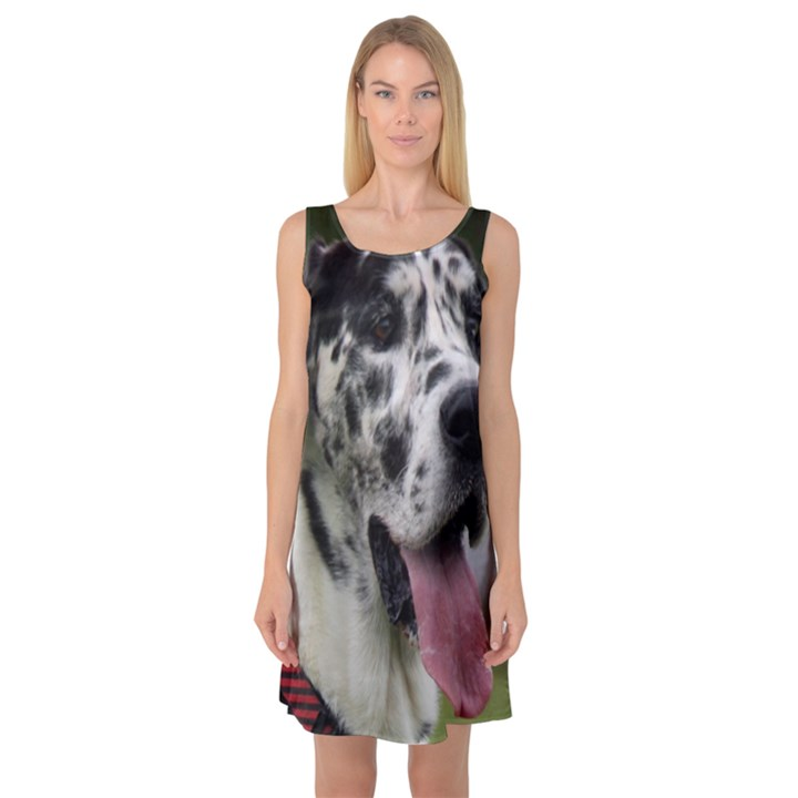 Great Dane harlequin  Sleeveless Satin Nightdress