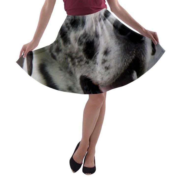 Great Dane harlequin  A-line Skater Skirt
