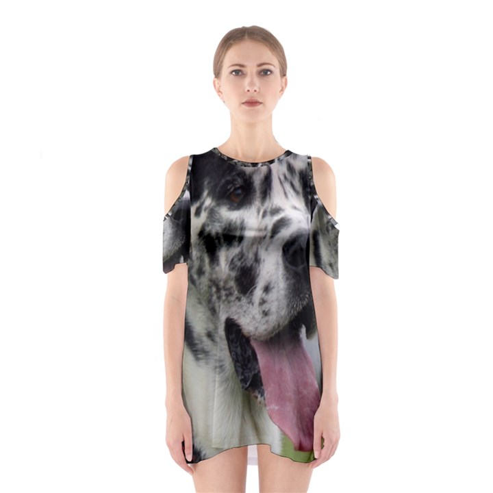 Great Dane harlequin  Cutout Shoulder Dress