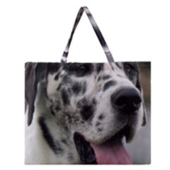 Great Dane harlequin  Zipper Large Tote Bag
